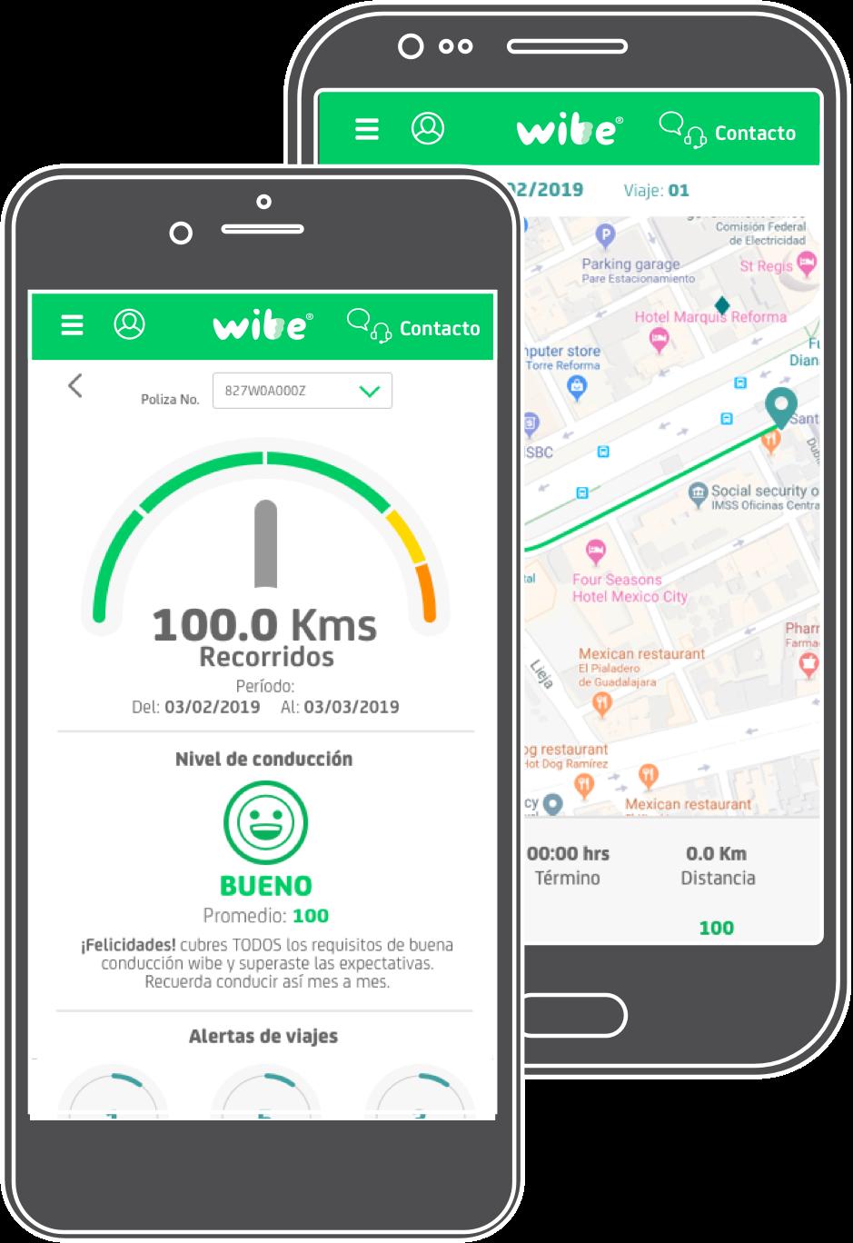 Seguimiento de viajes en la App wibe